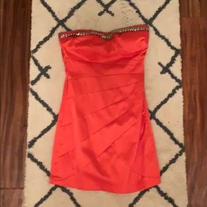 Red strapless hoco dress